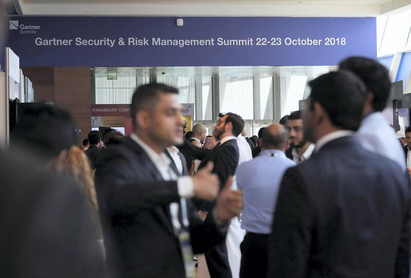 DUBAI , UNITED ARAB EMIRATES ,  October 22 , 2018 :- Delegates during the Gartner Security & Risk Management Summit 2018 held at InterContinental hotel in Dubai Festival City in Dubai. ( Pawan Singh / The National )  For Business. Story by Alkesh Sharma