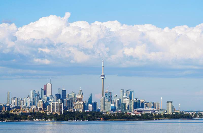 TORONTO, ONTARIO - June 29:  The CN Tower and skyline is seen on June 29, 2020 in Toronto, Canada. (Photo by Mark Blinch/Getty Images)