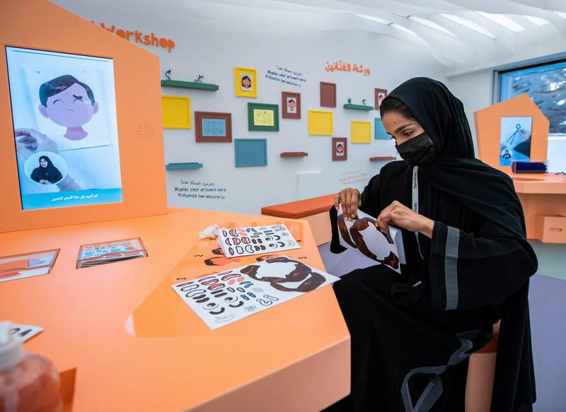 Louvre Abu Dhabi Children's Museum reopens this week. Preview/tour of the revamped space June, 15, 2021. Fatma Iqbal at the Artist's Workshop.  Victor Besa / The National. Reporter: Alexandra Chaves for Arts & Culture