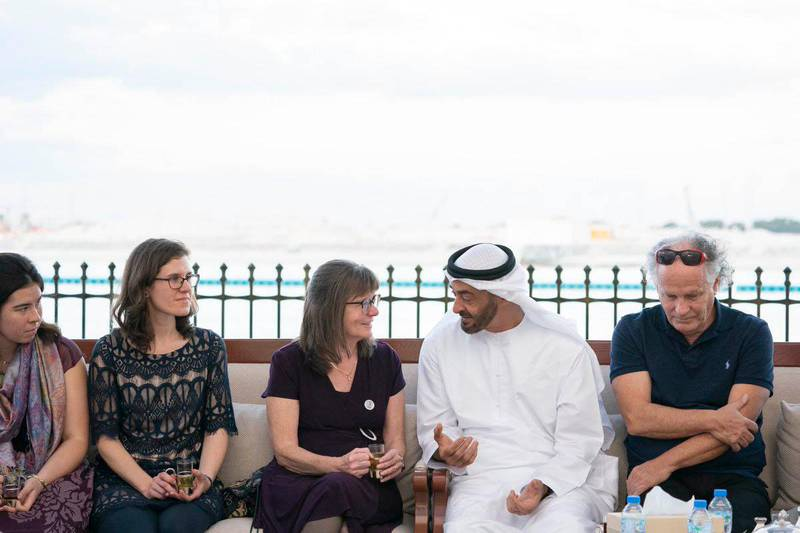 Sheikh Mohamed bin Zayed, Crown Prince of Abu Dhabi and Deputy Supreme Commander of the UAE Armed Forces, meet the children and grandchildren of Dr Pat and Marian Kennedy who founded the Kanad Hospital in Al Ain. MOPA