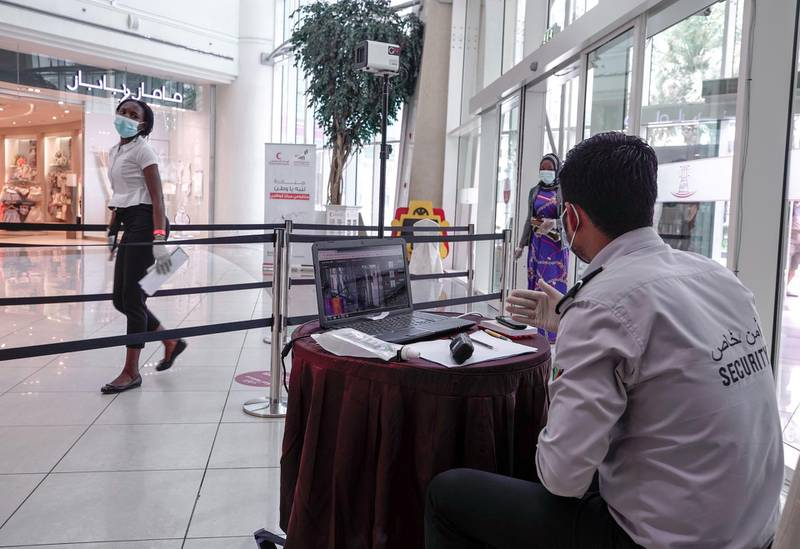 Abu Dhabi, United Arab Emirates, May 10, 2020.   The reopening of the Al Wahda Mall during the Coronavirus pandemic.  Thermal scanners at the mall entrance.Victor Besa/The NationalSection:  NAReporter: