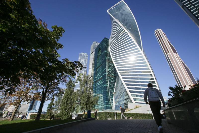 The Evolution Tower. The Moscow City business district in Moscow, Russia, August 16, 2016.