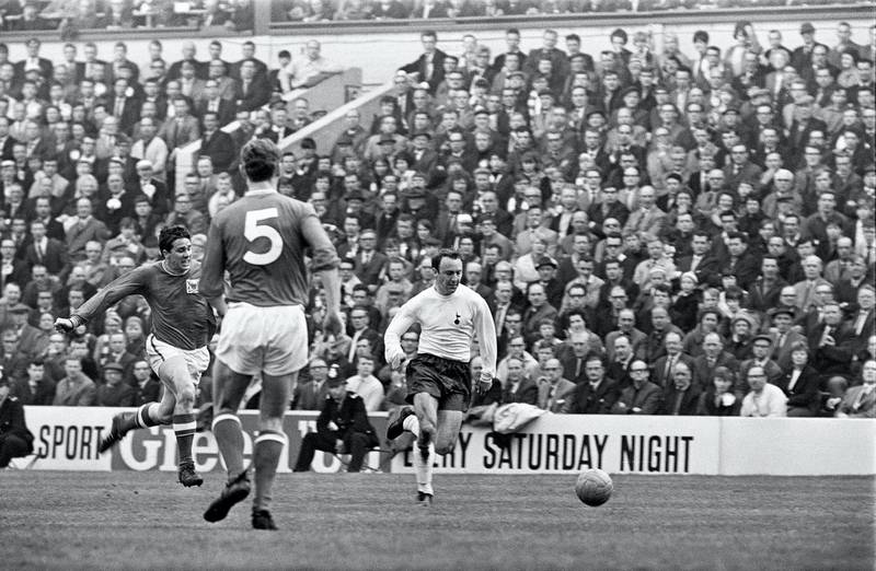 FA Cup Semi Final match at Hillsborough. Tottenham Hotspur 2 v Nottingham Forest 1. Jimmy Greaves shows a clean pair of heels to Forest right-back Peter Hindley during the FA Cup semi-final at Hillsborough. The Spurs maestro opened the scoring with an opportunistic left-foot daisy-cutter from 25 yards after half an hour in which the north Londoners had been decidedly second-best to Johnny ' team, 29th April 1967. (Photo by Ernest Chapman and John Varley/Mirrorpix/Getty Images)