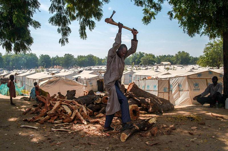 An IDP-camp resident in Bama chops firewood in the camp. Firewood is a precious commodity for many IDPs in Borno, and people often trade food and other essential items for it. Without fire and fuel to cook, IDPs cannot cook the food rations that are distributed for them.
