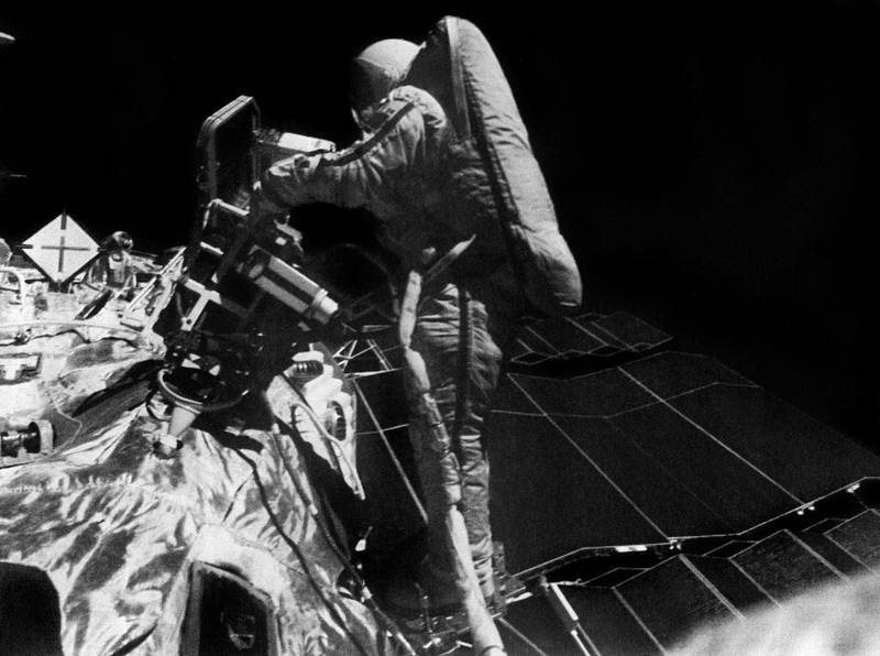Picture, taken by Soviet commander Vladimir Dzhanibekov, shows the first ever walk into outer space by a woman, Svetlana Savitskaya, during the space mission Soyuz T 12 to the Salyut 7 space station on July 25, 1984. Her EVA lasted 3 hours 35 minutes. (Photo by TASS / AFP)