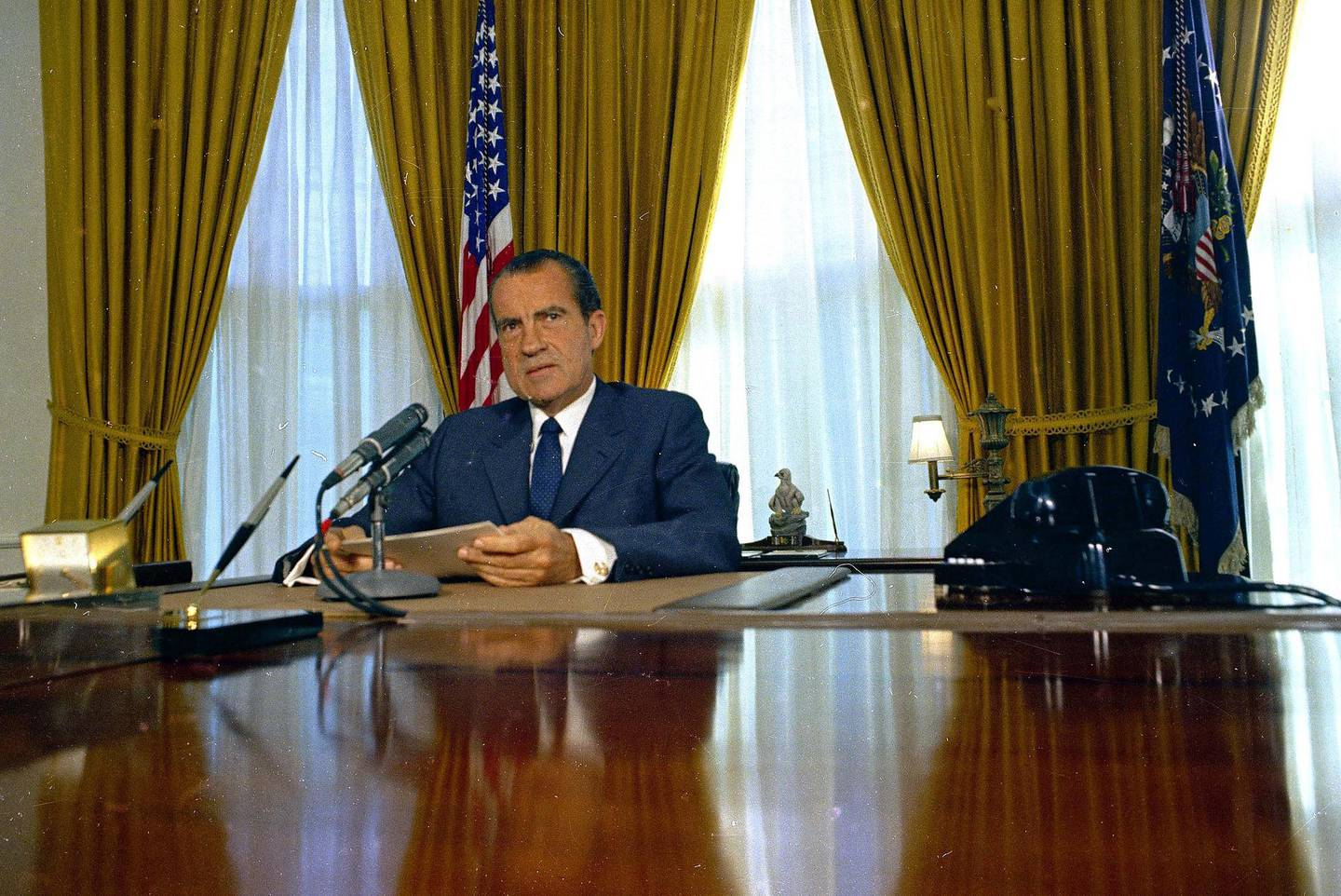 President Richard Nixon is seen in the Oval Office of the White House, 1969.  (AP Photo)