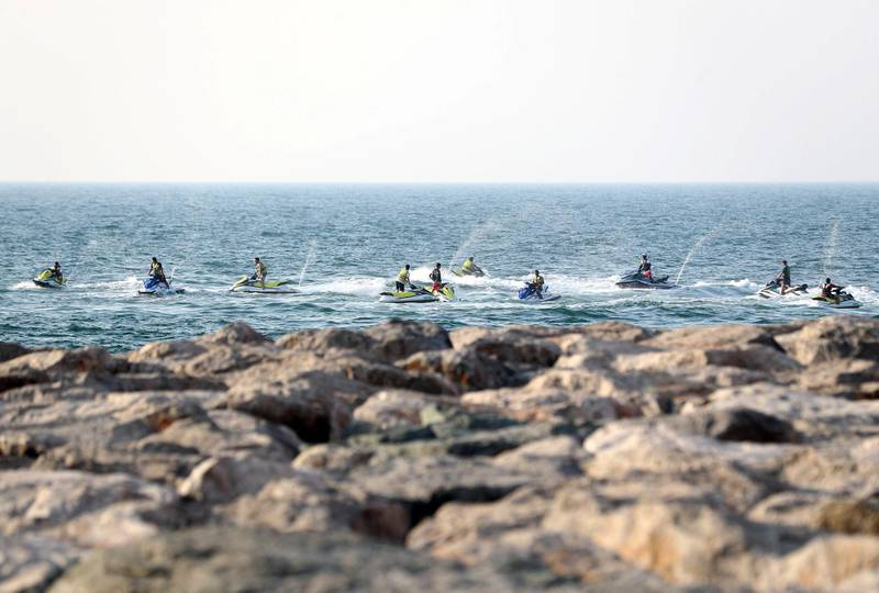 Dubai, United Arab Emirates - Reporter: N/A. News. The sun sets on 10 jet skis by the Palm on the longest day of the year. Sunday, June 21st, 2020. Dubai. Chris Whiteoak / The National