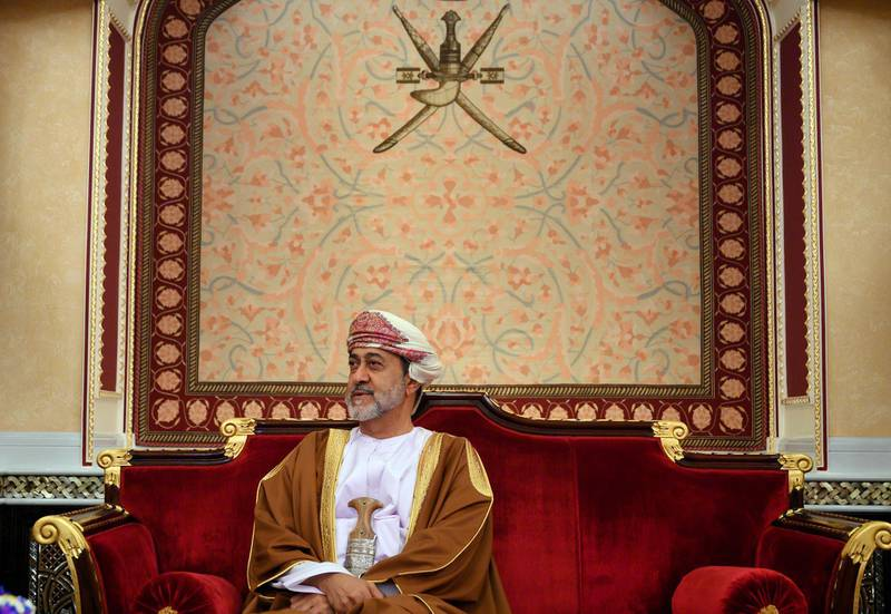 Oman's Sultan Haitham bin Tariq meets with US Secretary of State Mike Pompeo at al-Alam palace in the capital Muscat, Friday Feb. 21, 2020. (Andrew Caballero-Reynolds/Pool via AP)