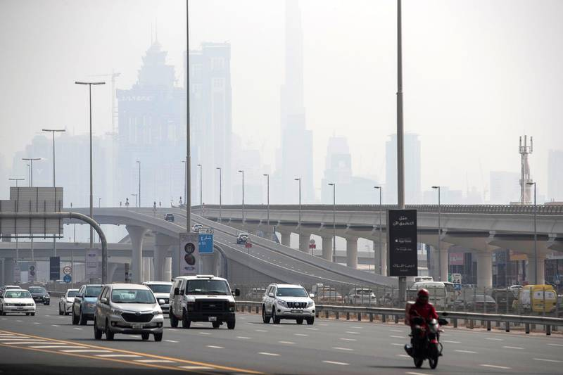 DUBAI, UNITED ARAB EMIRATES. 10 AUGUST 2020. STANDALONE. Hot weather in Dubai with hazy overcast clouds. (Photo: Antonie Robertson/The National) Journalist: None. Section: National.