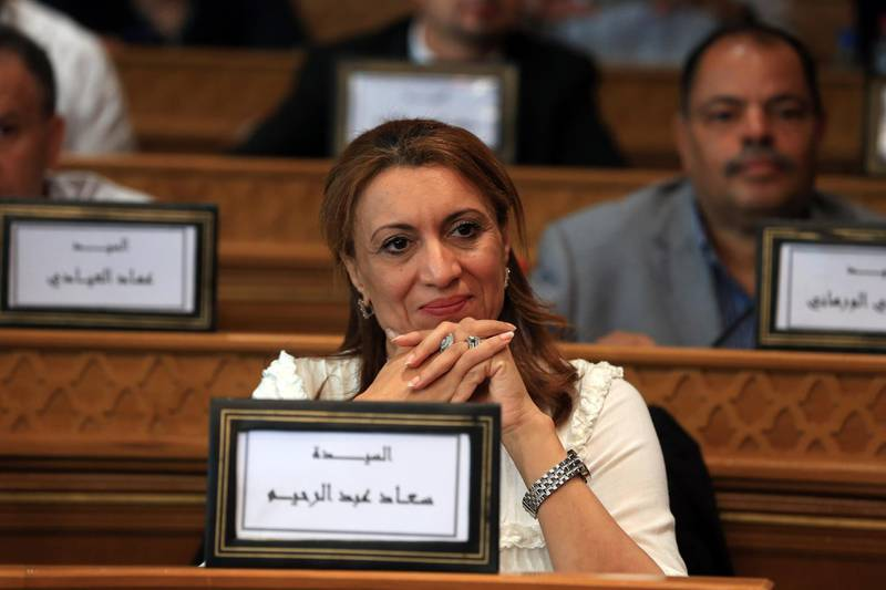 epa06862333 Ennahda party candidate Souad Abderrahim is seen before she was elected as Tunis Mayor following the Tunis Municipal Council meeting, which was held to elect new mayor of Tunis, in Tunis, Tunisia, 02 July 2018 (Issued on 03 July 2018). Souad Abderrahim, 54, senior member of Ennahda moderate Islamic party and former MP, won the second round of voting by Tunis municipal council to become the first female Mayor in the history of the city.  EPA/STR