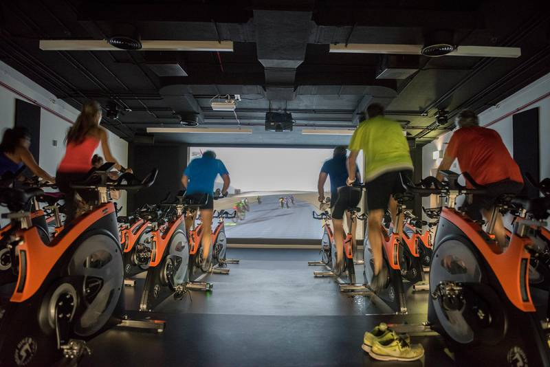 Virtual Spinning Reality Class, at Healthline, Zayed Sports City, Abu Dhabi, UAE, Vidhyaa for The National, id 52465 *** Local Caption ***  3_Healthline.jpg