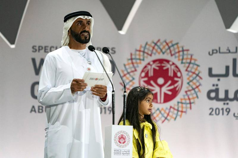 ABU DHABI, UNITED ARAB EMIRATES - March 21, 2019: HH Sheikh Nahyan Bin Zayed Al Nahyan, Chairman of the Board of Trustees of Zayed bin Sultan Al Nahyan Charitable and Humanitarian Foundation (L), delivers a speech during the closing ceremony of the Special Olympics World Games Abu Dhabi 2019, at Zayed Sports City. Seen with HH Sheikha Rawdha bint Nahyan Bin Zayed Al Nahyan (R).  ( Hamad Al Mansoori for Ministry of Presidential Affairs ) ---