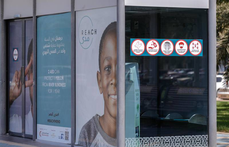 Abu Dhabi, United Arab Emirates, September 15, 2020.  The new air-conditioned bus stops with Covid-19 restrictions along the Corniche,Abu Dhabi.Victor Besa /The NationalSection:  NA/Stock ImagesReporter: