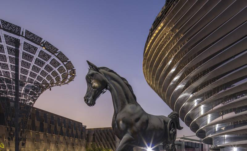 DUBAI, UAE, MAY 18, 2020: General view of the Mare & Foal Statue at Mobility Pavilion during Sunrise at the Expo 2020 Site (Photo by Dany Eid/Expo 2020)
