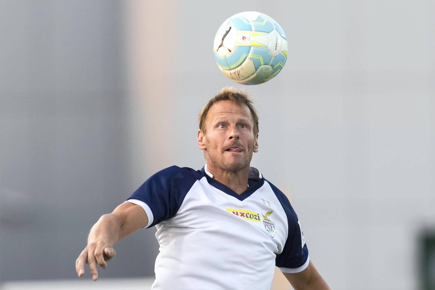 Dubai, United Arab Emirates, November 2, 2017:     Teddy Sheringham coaches members of the Indian football club ATK during a training session at the Nad Al Sheba Sports Complex in the Nad Al Sheba area of Dubai on November 2, 2017. Christopher Pike / The National  Reporter: Paul Radley Section: Sport