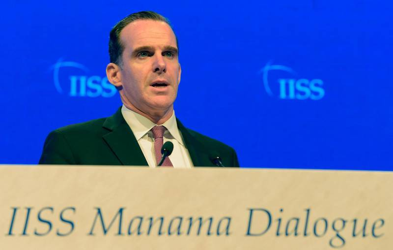 Brett McGurk, US special Presidential Envoy for Iraq and Syria, addresses the 14th International Institute for Strategic Studies (IISS) Manama Dialogue in the Bahraini capital Manama on October 27, 2018.  / AFP / STR