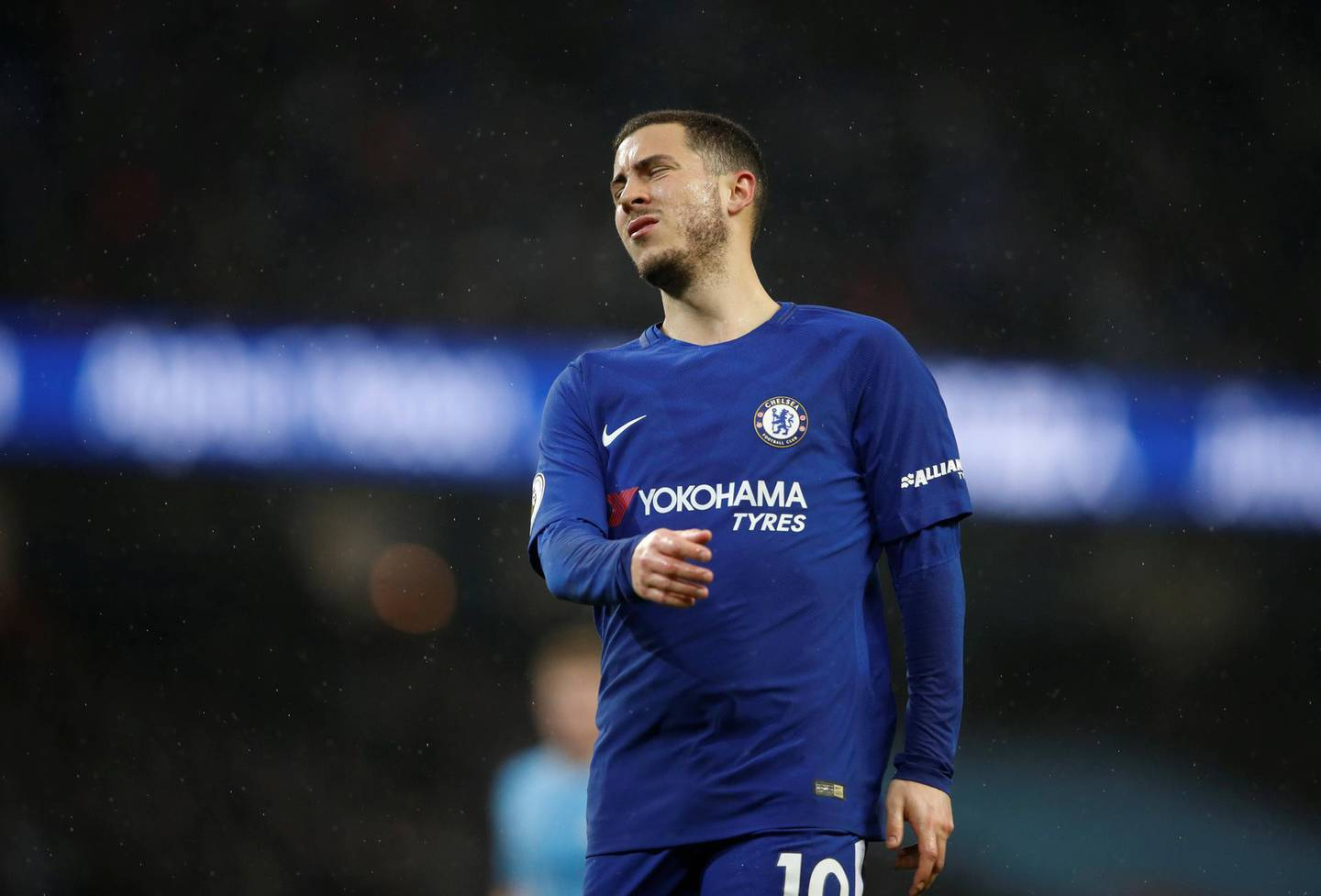 """Soccer Football - Premier League - Manchester City vs Chelsea - Etihad Stadium, Manchester, Britain - March 4, 2018   Chelsea's Eden Hazard looks dejected    Action Images via Reuters/Carl Recine    EDITORIAL USE ONLY. No use with unauthorized audio, video, data, fixture lists, club/league logos or """"live"""" services. Online in-match use limited to 75 images, no video emulation. No use in betting, games or single club/league/player publications.  Please contact your account representative for further details."""