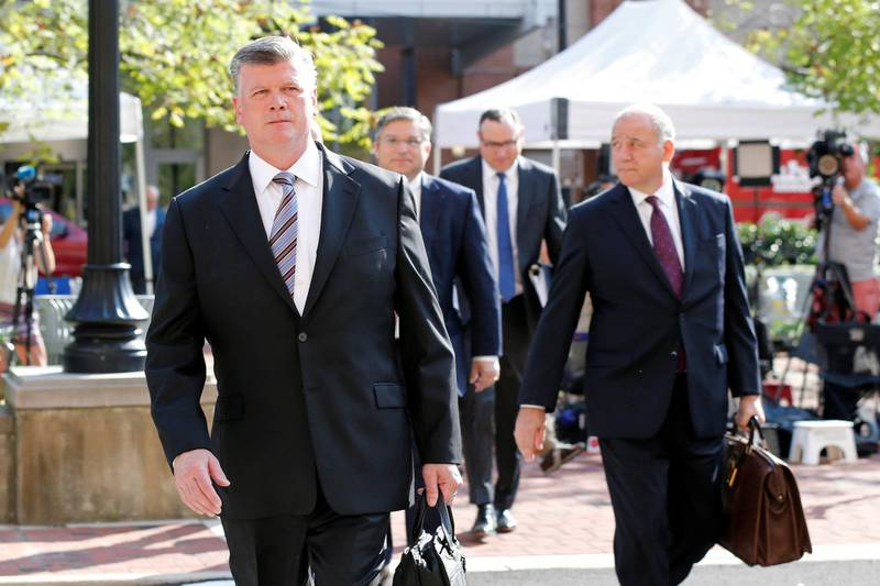 Defense attorney Kevin Downing arrives at the U.S. District Courthouse as closing arguments are expected in former Trump campaign manager Paul Manafort's trial on bank and tax fraud charges stemming from Special Counsel Robert Mueller's investigation of Russia's role in the 2016 U.S. presidential election, in Alexandria, Virginia, U.S., August 15, 2018. REUTERS/Chris Wattie