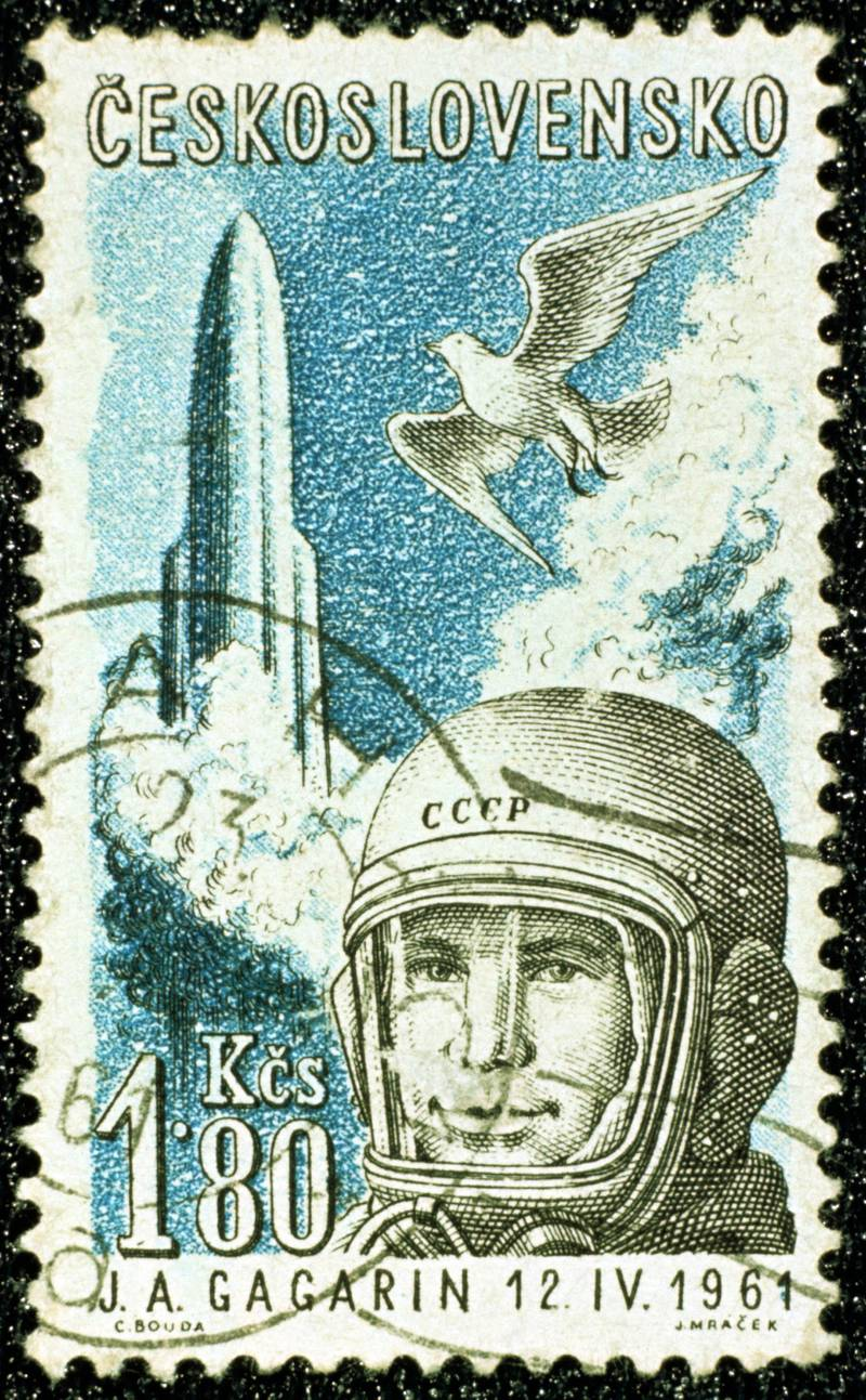 UNSPECIFIED - CIRCA 1754: Yuri Gargarin, 1961. Gargarin (1934-1968), Russian cosmonaut and the first man to travel in space. Czech postage stamp commemorating Gargarin's flight in 'Vostok', 12 April 1961. (Photo by Universal History Archive/Getty Images)