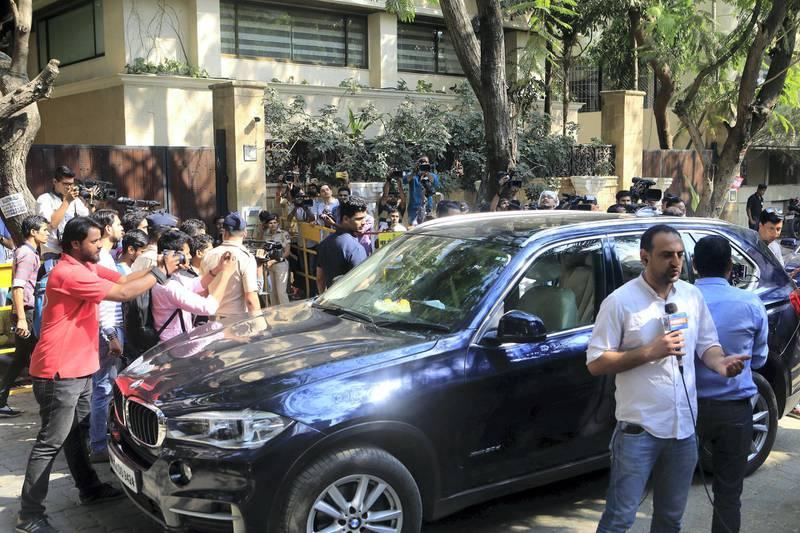 27 Feb 2018, Mumbai - INDIA Celebrities arrive at actor Anil Kapoor's Bungalow at JVPD Scheme in Mumbai. (Subhash Sharma for The National)