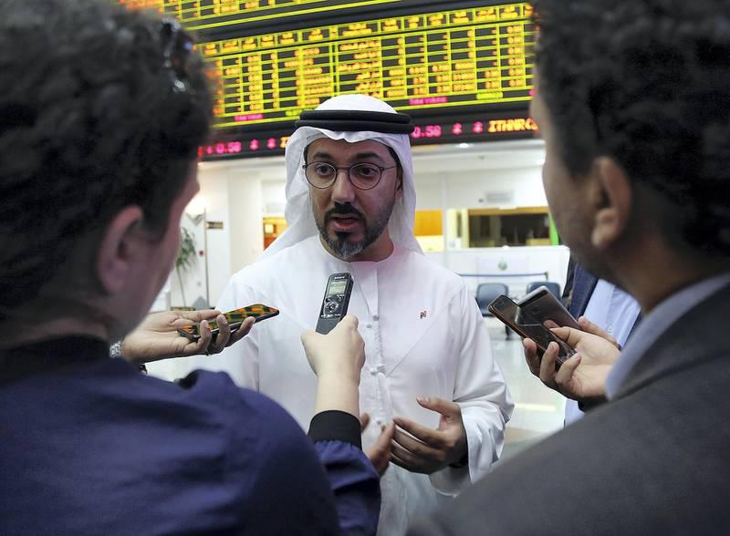 Abu Dhabi, Feb 18, 2018: Hamed Ahmed Ali, CEO, Nasdaq Dubai talks to the media during the launch of ADI Futures on Nasdaq Dubai in Abu Dhabi . Satish Kumar for the National / Story by Dania Al Saadi