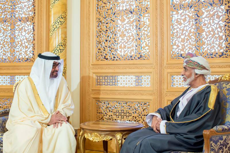 MUSCAT, OMAN - December 24, 2013: HH General Sheikh Mohamed bin Zayed Al Nahyan Crown Prince of Abu Dhabi Deputy Supreme Commander of the UAE Armed Forces (L), meets with HM Sultan Qaboos bin Said, Sultan of Oman (R), during an official visit to Oman.  ( Ryan Carter / Crown Prince Court - Abu Dhabi ) *** Local Caption ***  20131224RC_C6_1802.JPG