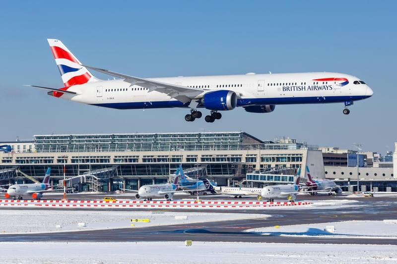 2EHR62A Stuttgart, Germany - February 11, 2021: British Airways Boeing 787-10 Dreamliner airplane at Stuttgart Airport (STR) in Germany.