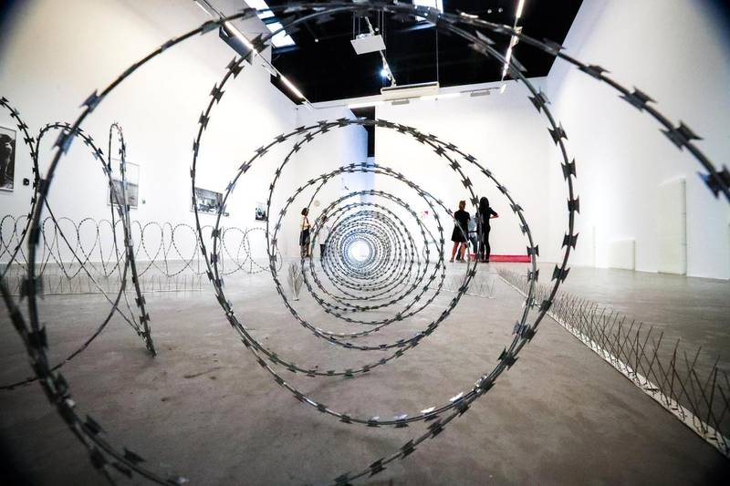 Dubai, United Arab Emirates, September 17, 2018. PROBABLE STAND ALONE / BIG PICTURE:  Shooting artists and curators at Alserkal Avenue openings. --- Cyclone wire conceptual art by Wilfredo Prieto.Victor Besa/The NationalSection:  ACReporter:  Melissa Gronlund
