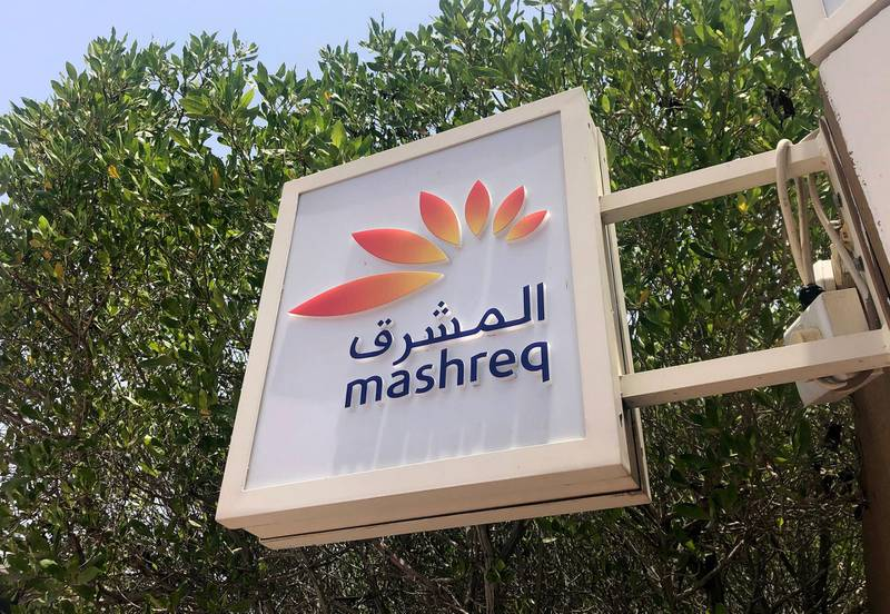 Dubai, United Arab Emirates - Reporter: N/A. Business. General view of a sign for Mashreq bank. Tuesday, July 21st, 2020. Dubai. Chris Whiteoak / The National