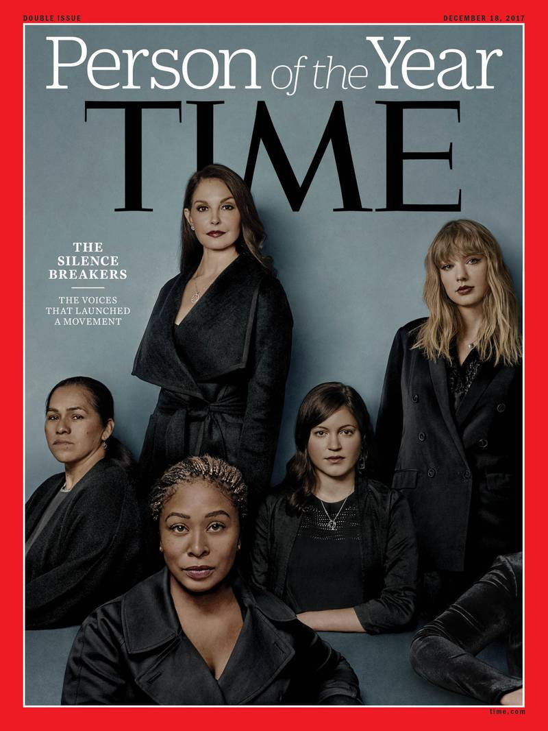 """This image obtained December 6, 2017 courtesy of Time magazine, shows the 2017 Time Person of the Year: """"The Silence Breakers"""".Time magazine named December 6, 2017, """"The Silence Breakers"""" who revealed the pervasiveness of sexual harassment and assault across various industries that triggered a national reckoning in the United States as Person of the Year.""""The Silence Breakers"""" designates a broad range of people, mostly women, from this year's first public accusers of disgraced Hollywood mogul Harvey Weinstein to those who shared their stories of abuse using the hashtag #MeToo and its foreign language equivalents. The cover features a group portrait of """"The Silence Breakers,"""" including Ashley Judd, Susan Fowler, Adama Iwu, Taylor Swift, and Isabel  / AFP PHOTO / TIME Inc. / Billy & Hells / RESTRICTED TO EDITORIAL USE - MANDATORY CREDIT """"AFP PHOTO / TIME INC./BILLY & HELLS/HANDOUT"""" - NO MARKETING NO ADVERTISING CAMPAIGNS - DISTRIBUTED AS A SERVICE TO CLIENTS"""