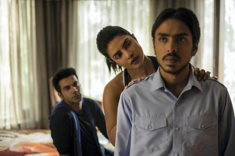 White Tiger. Rajkummar Rao as Ashok, Priyanka Chopra as Pinky Madam, Adarsh Gourav as Balram in White Tiger. Cr. Tejinder Singh Khamkha/NETFLIX © 2020