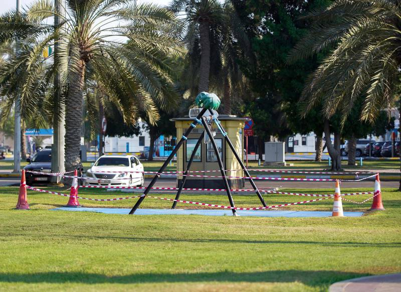 Abu Dhabi, United Arab Emirates, November 2, 2020.   A cordoned off swing along the Corniche for Covid-19 precautionary measures.Victor Besa/The NationalSection:  NAFor:  Standalone/Stock/Weather