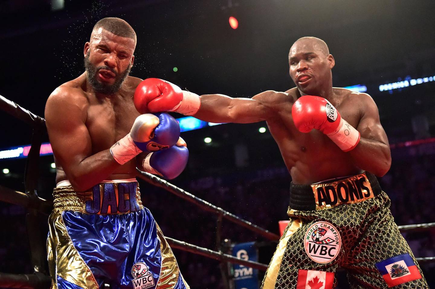 Adonis Stevenson, right, hits Badou Jack with a right during their WBC light heavyweight championship boxing match in Toronto on Saturday, May 19, 2018. (Frank Gunn/The Canadian Press via AP)