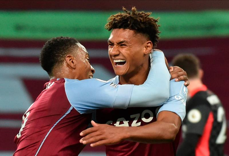 epa08721083 Aston Villa's Ollie Watkins (R) celebrates with Ezri Konsa (L) scoring a goal during the English Premier League match between Aston Villa and Liverpool FC in Birmingham, Britain, 04 October 2020.  EPA/Rui Vieira / POOL EDITORIAL USE ONLY. No use with unauthorized audio, video, data, fixture lists, club/league logos or 'live' services. Online in-match use limited to 120 images, no video emulation. No use in betting, games or single club/league/player publications.