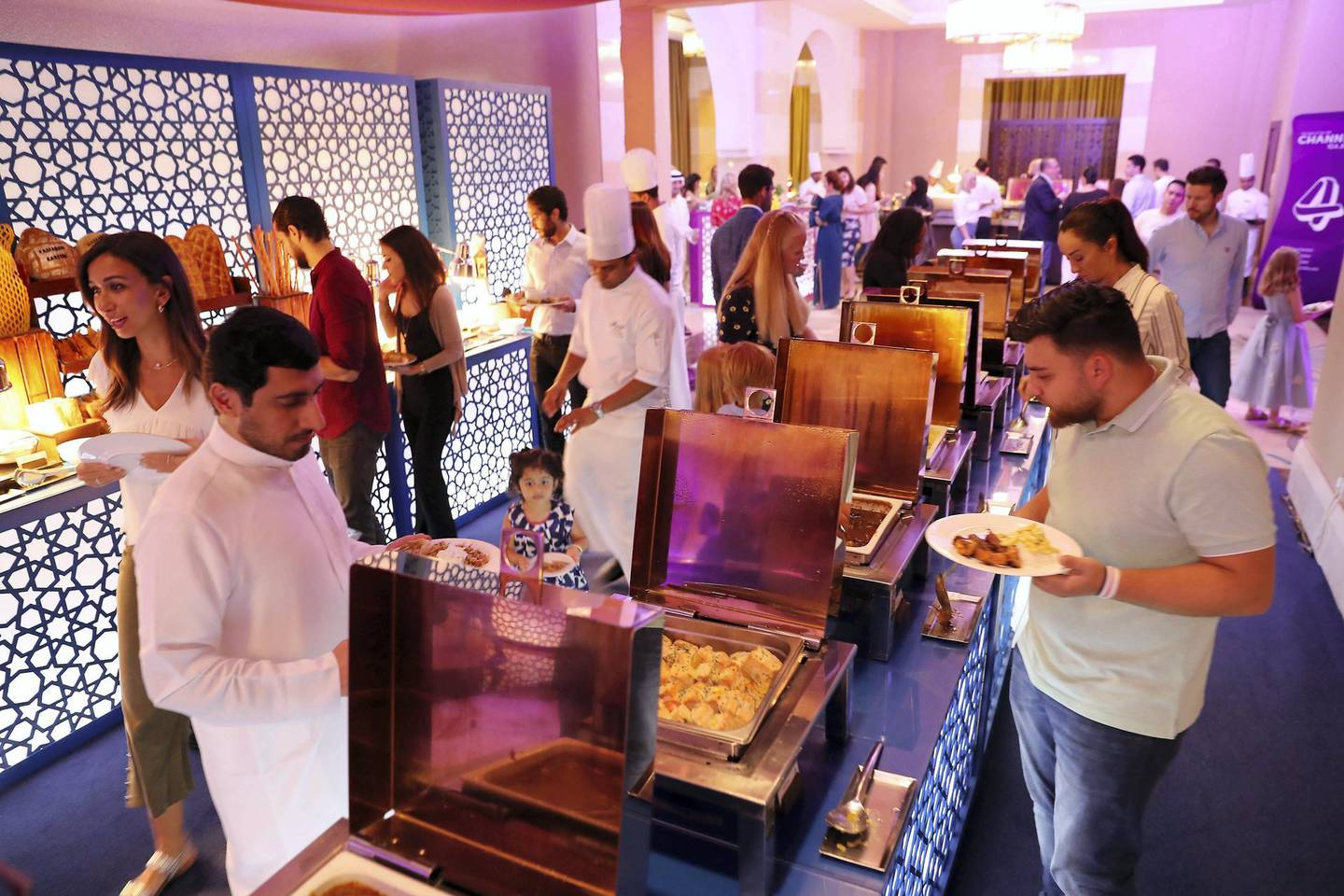 DUBAI,  UNITED ARAB EMIRATES , May 9 – 2019 :- People having Iftar food at the Fairuz Ramadan Tent at the Fairmont hotel on The Palm Jumeirah in Dubai.  ( Pawan Singh / The National ) For News/Online/Instagram. Story by Patrick