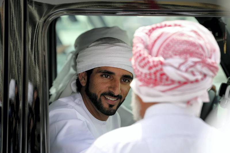 DUBAI, UNITED ARAB EMIRATES - APRIL 16:  Sheikh Hamdan bin Mohammed bin Rashid Al Maktoum Crown Prince of Dubai is pictured during Al Marmoom Heritage Festival at the Al Marmoum Camel Racetrack on April 16, 2014 in Dubai, United Arab Emirates. The festival promotes the traditional sport of camel racing within the region.  (Photo by Francois Nel/Getty Images)