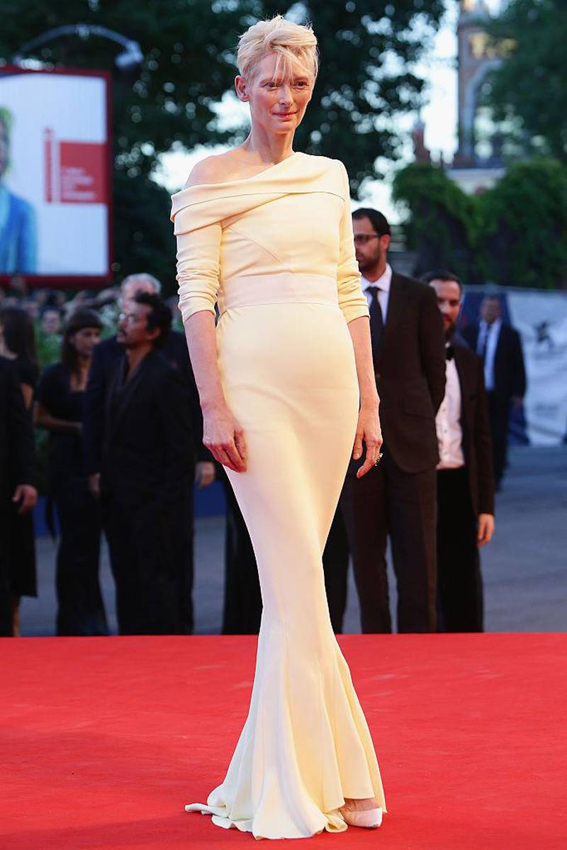 VENICE, ITALY - SEPTEMBER 06:  Actress Tilda Swinton attends a premiere for 'A Bigger Splash' during the 72nd Venice Film Festival at Sala Grande on September 6, 2015 in Venice, Italy.  (Photo by Vittorio Zunino Celotto/Getty Images)