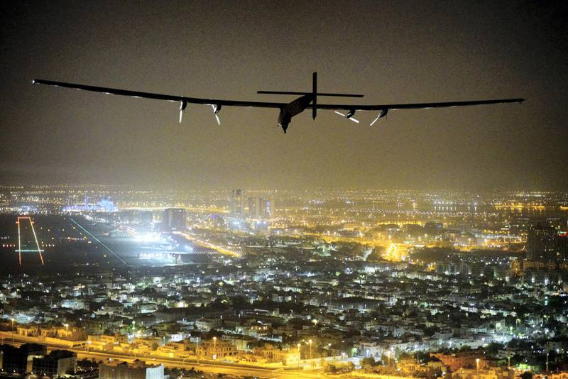 Solar Impulse 2, the solar powered plane, piloted by Swiss pioneer Bertrand Piccard, is seen before landing in Abu Dhabi to finish the first around the world flight without the use of fuel, United Arab Emirates July 26, 2016. Jean Revillard, Bertrand Piccard/SI2/Handout via Reuters ATTENTION EDITORS - THIS IMAGE WAS PROVIDED BY A THIRD PARTY. FOR EDITORIAL USE ONLY. - D1BETRTISTAA
