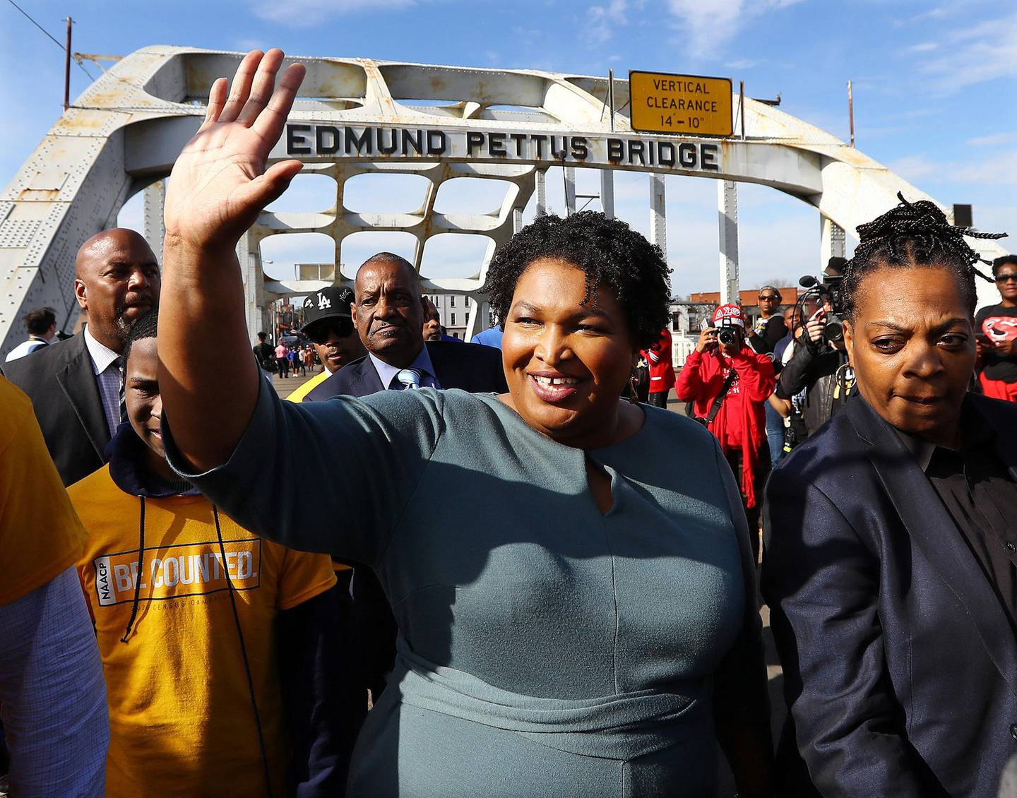 Former candidate for Georgia governor Stacey Abrams crosses the Edmund Pettus Bridge during Selma's re-enactment of Bloody Sunday on Sunday, March 1, 2020, in Selma, Ala. (Curtis Compton/Atlanta Journal-Constitution/TNS/ABACAPRESS.COM)No Use France Digital. No Use France Print.