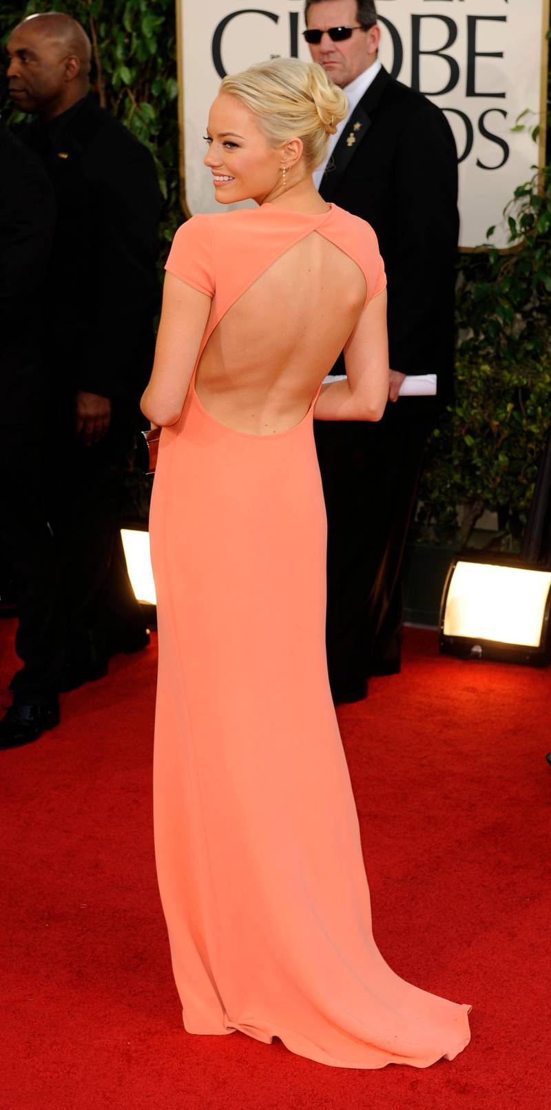 epa02533715 US actress Emma Stone arrives for the 68th Golden Globe Awards held at the Beverly Hilton Hotel in Los Angeles, California, USA, 16 January 2011.  EPA/MIKE NELSON