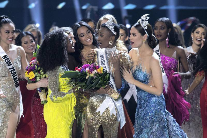 Zozibini Tunzi, Miss South Africa 2019 is crowned Miss Universe by Miss Universe 2018, Catriona Gray and congratulated by fellow contestants at the conclusion of The MISS UNIVERSE® Competition on FOX at 7:00 PM ET on Sunday, December 8, 2019 live from Tyler Perry Studios in Atlanta. The new winner will move to New York City where she will live during her reign and become a spokesperson for various causes alongside The Miss Universe Organization. HO/The Miss Universe Organization