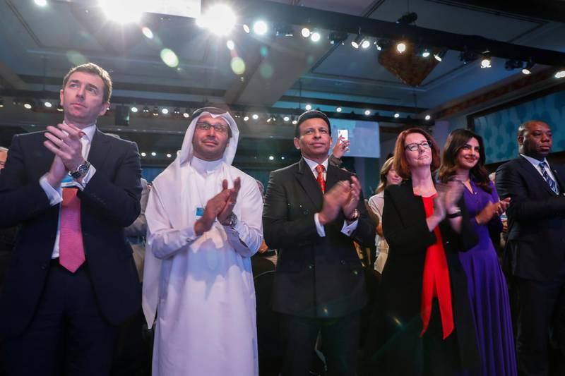 Dubai, UAE. March18, 2018.Standing ovation after the talks on on school shootingsVictor Besa / The NationalNational