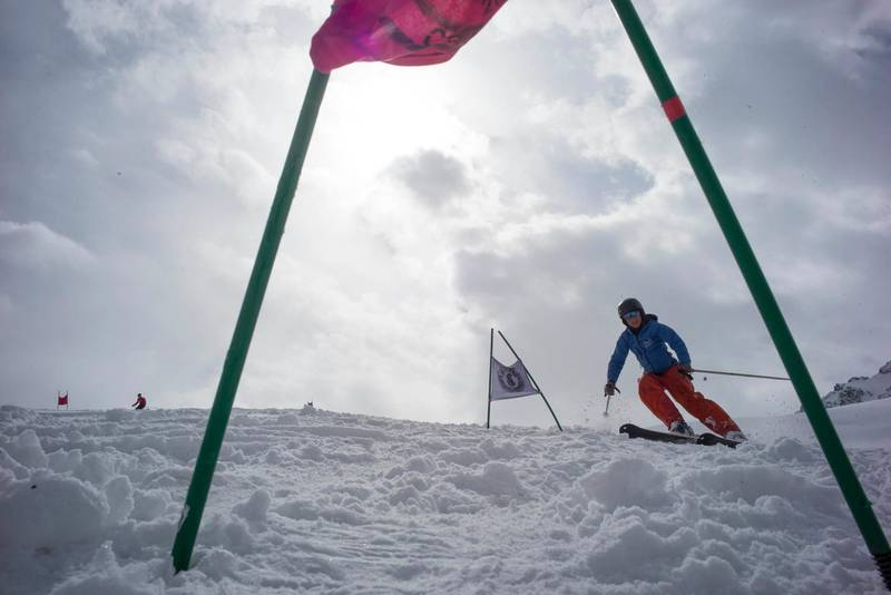 AFGHANISTAN, Bamiyan: 25 February 2021Skiers enjoy a day in the mountains of Bamiyan Province, Afghanistan. Skiing is slowly increasing in popularity with an annual event held on the 4-5th March called the Afghan Ski Challenge. Photo by Rick Findler