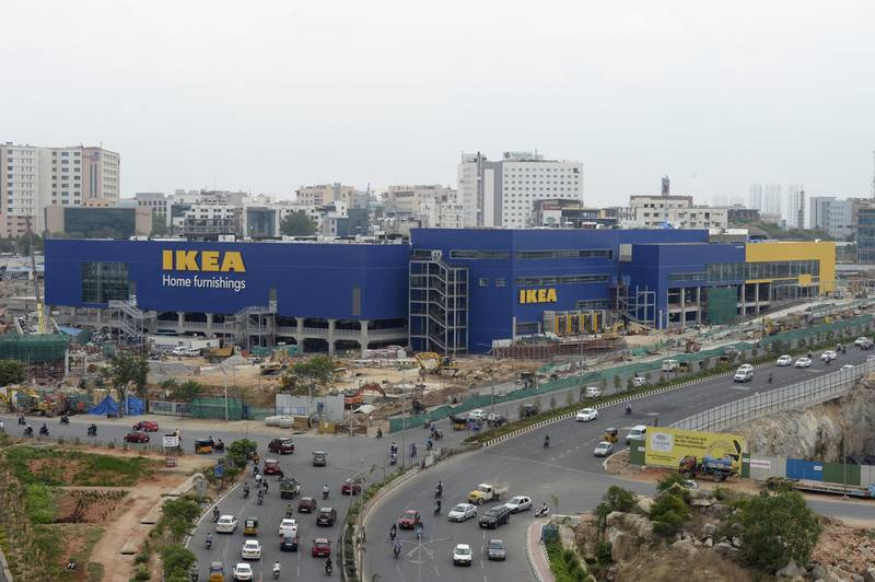 This photo taken on June 22, 2018 shows the under-construction site of an IKEA store in Hyderabad. Furniture giant Ikea is set to open its first store and restaurant in India after years of trying but arguably its most famous item is off the menu -- Swedish meatballs. / AFP PHOTO / NOAH SEELAM / TO GO WITH:  Economy-India-Sweden-retail-Ikea, FOCUS by Vishal MANVE