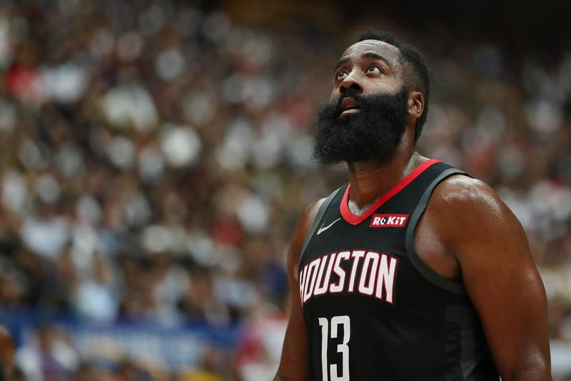 SAITAMA, JAPAN - OCTOBER 10: James Harden #13 of Houston Rockets looks on during the preseason match between Toronto Raptors and Houston Rockets at Saitama Super Arena on October 10, 2019 in Saitama, Japan. NOTE TO USER: User expressly acknowledges and agrees that, by downloading and/or using this photograph, user is consenting to the terms and conditions of the Getty Images License Agreement. (Photo by Takashi Aoyama/Getty Images)