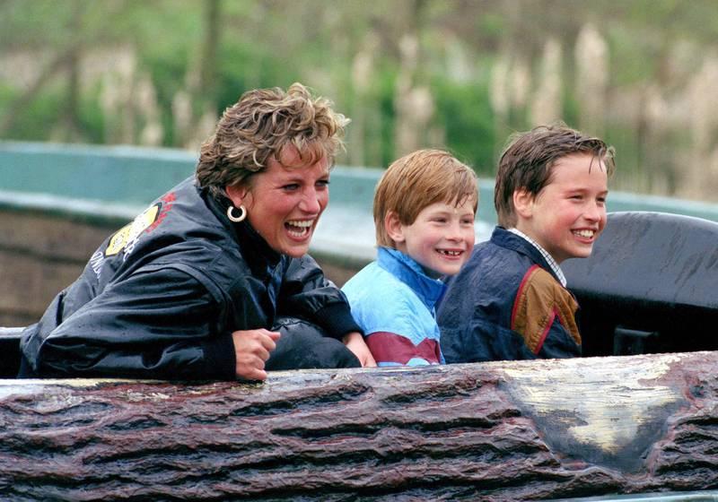 Diana Princess Of Wales, Prince William & Prince Harry Visit The 'Thorpe Park' Amusement Park. (Photo by Julian Parker/UK Press via Getty Images)