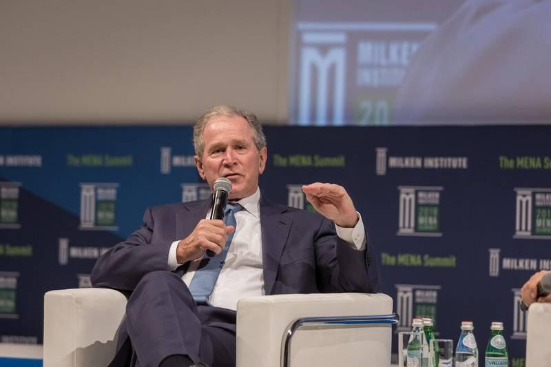 Former US president George W Bush at the Milken Institute MENA Summit in Abu Dhabi, February 8, 2018. Courtesy Milken Institute