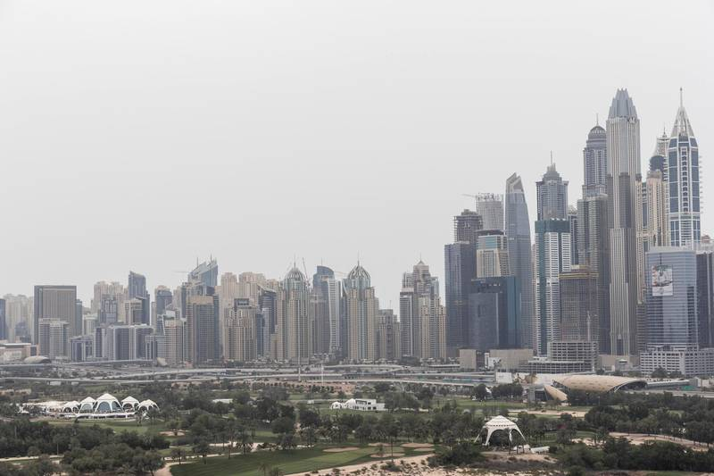 DUBAI, UNITED ARAB EMIRATES. 12 APRIL 2018. Cloudy and overcast weather in Dubai with some wind and dust in the atmosphere. (Photo: Antonie Robertson/The National) Journalist: STANDALONE. Section: National.