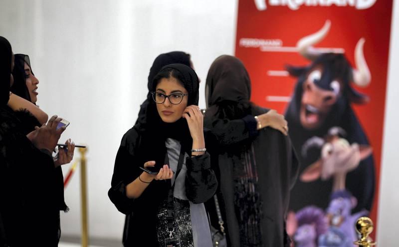 Saudi women attend the opening of a cinema at Riyadh Park mall, in Riyadh, Saudi Arabia April 30, 2018. REUTERS/Faisal Al Nasser