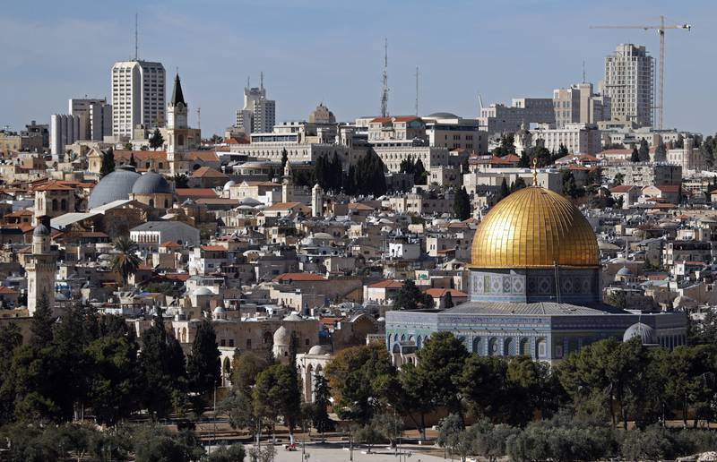 A general view of the city of Jerusalem shows the Dome of the Rock mosque (C) on December 4, 2017.  Palestinian leaders were seeking to rally diplomatic support to persuade US President Donald Trump not to recognise Jerusalem as Israel's capital after suggestions that he planned to do so. East Jerusalem was under Jordanian control from Israel's creation in 1948 until Israeli forces captured it during the 1967 Six-Day War. Israel later annexed it in a move not recognised by the international community. / AFP PHOTO / THOMAS COEX